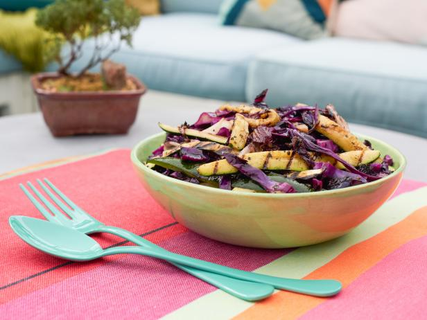 Grilled Cabbage, Zucchini and Radicchio Coleslaw