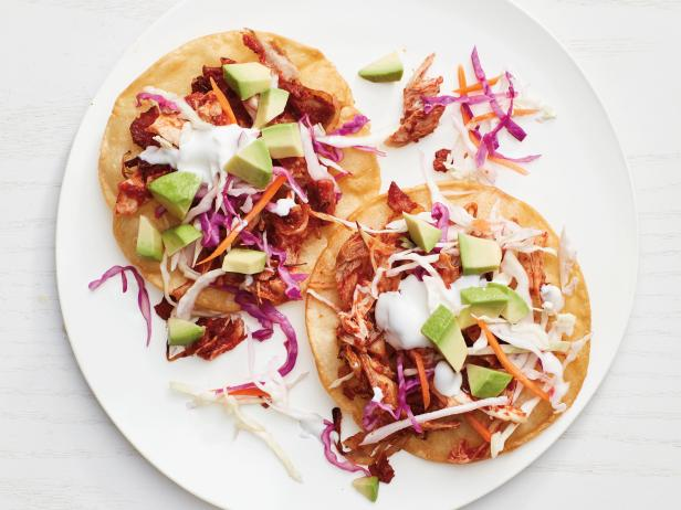 Pulled chicken tostadas recipe food network kitchen food network pulled chicken tostadas forumfinder Choice Image