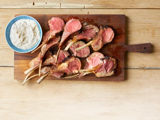 Spice-Rubbed Lamb Rack with Yogurt and Fresh Herbs