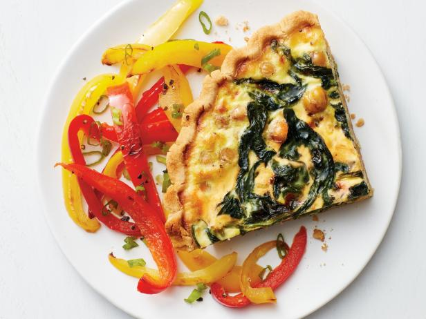 Spinach-Chickpea Quiche with Bell Peppers