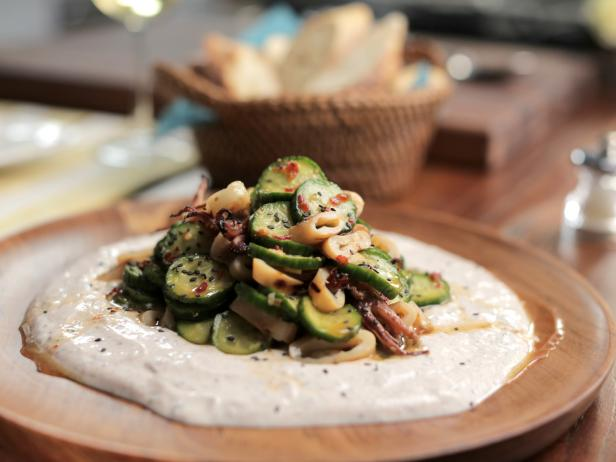 Spicy Calamari and Cucumber Salad with Spiced Yogurt Sauce