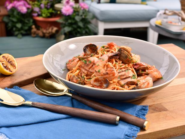 Grilled Seafood with Linguine