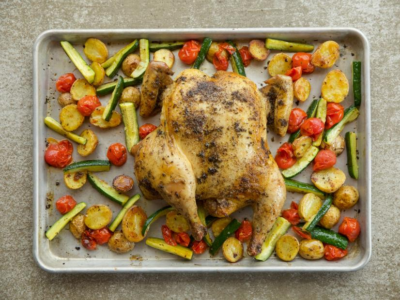 Spatchcock Chicken Sheet Pan Supper