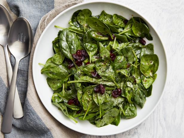 Wilted Spinach with Cranberry-Honey Vinaigrette