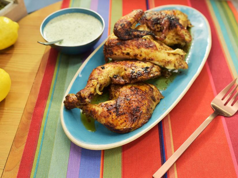 Peruvian Style Spatchcock Chicken With Creamy Cilantro Sauce Recipe