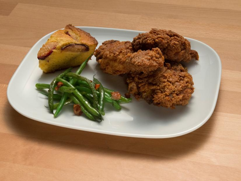 Fried Chicken With Plum Cornbread And Bacon Green Beans Recipe