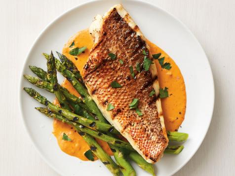 Grilled Snapper and Asparagus with Red Pepper Sauce