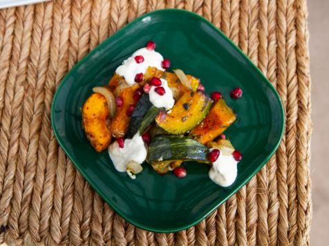 Oven Roasted Squash with Ricotta and Pomegranate Seeds