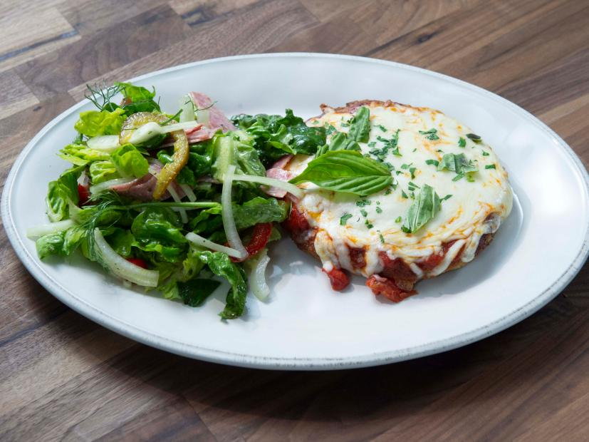Chicken Patty Parm With Salami Salad Recipe Rachael Ray Food Network
