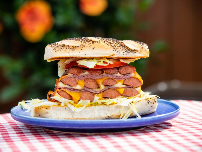 Grilled Triple Decker Hot Dog Sandwich Recipe Jeff Mauro Food Network