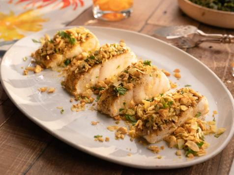 Roasted Cod with Cashew Coconut Lime Topping