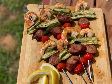 Lowcountry Okra and Shrimp Kebabs