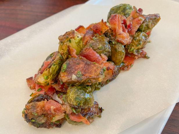 Charred Brussels Sprouts with Bacon and Maple