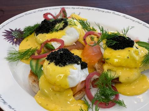 Smoked Salmon Eggs Benedict with Caviar and Sauce Maltaise