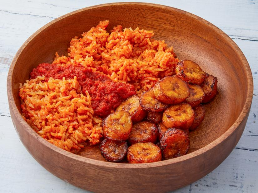 Jollof Rice With Fried Plantains Recipe Kwame Onwuachi Food Network