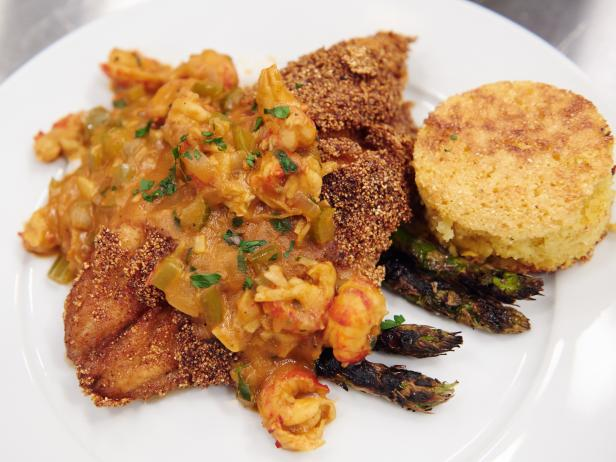Crawfish Etouffee, Fried Catfish, Rice, Grilled Asparagus and Cornbread