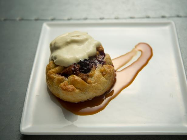 Cherry Brown Butter Crostata with Vanilla Ice Cream and Caramel Sauce
