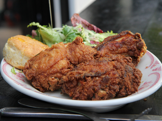 Bobwhite's mission is to make down-home Southern food in a seasonal, responsible manner that anyone can afford and enjoy on a regular basis. The menu is simple: fried chicken, biscuits, sandwiches and an ever-changing roster of vegetable sides. Jeff Mauro recommends the 3-piece fried chicken supper.