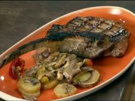 Grilled Veal Chop with Fingerlings, Mushrooms and Cherry Peppers