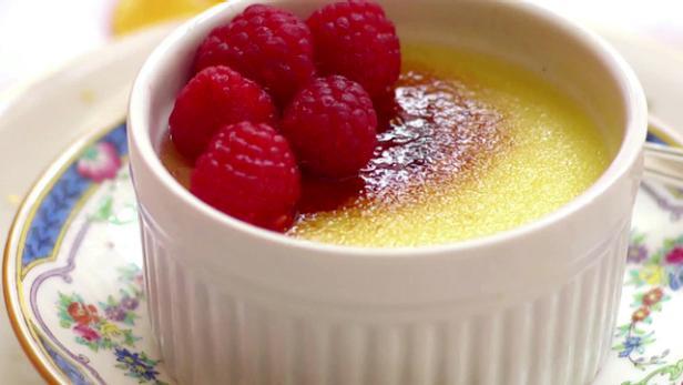 Vanilla Bean Creme Brulee with Raspberries